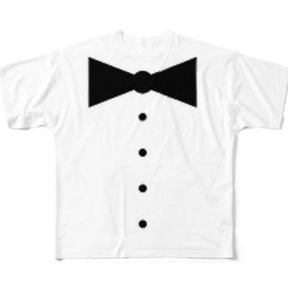 蝶ネクタイとボタンがいい感じ Full graphic T-shirts