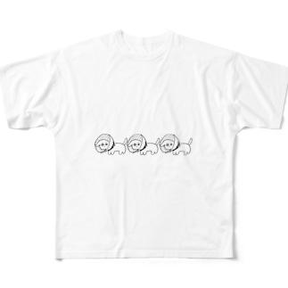 エリザベスカラーをつけた犬(白内障) Full graphic T-shirts