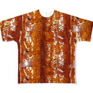 うなぎの蒲焼きタイル Full graphic T-shirts