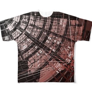 Cyber red hole Full graphic T-shirts