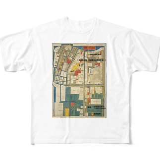 本所深川絵図 Full graphic T-shirts