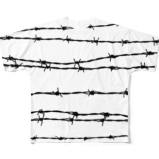 有刺鉄線ボーダー Full graphic T-shirts