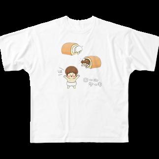 たゆんたゆんのロールケーキ Full graphic T-shirts