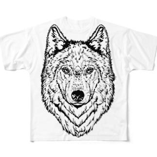 一匹オオカミ(ウルフフェイス) Full graphic T-shirts