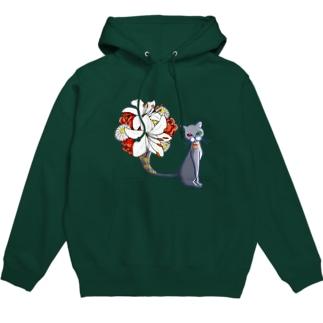Little Angelsの猫の花瓶 Hoodie