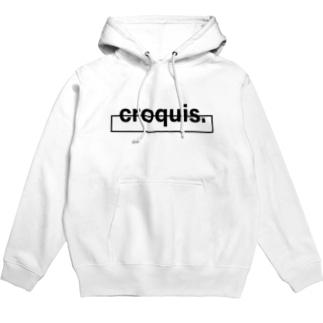 croquis./ベーシックロゴ(黒) Hoodies