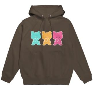 3色くまちゃん Hoodies