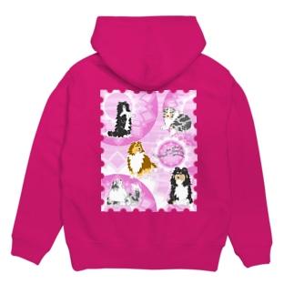 Five colors of Shetland Sheepdogs.~Wisteria~ Hoodies