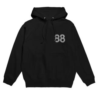 88白ロゴ フーディ