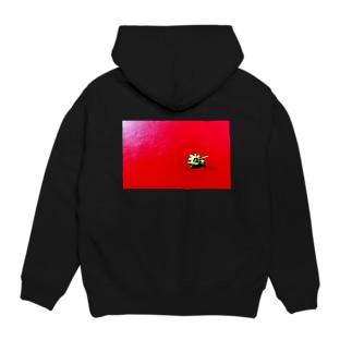 〈white logo〉strawberry back print Hoodies