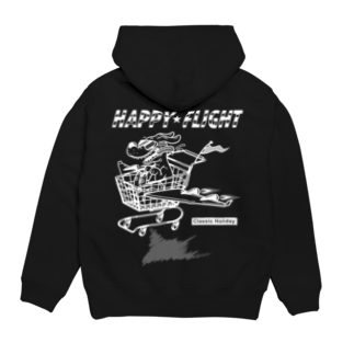 nidan-illustrationのhappy dog #2 -happy flight- (white ink) Hoodiesの裏面