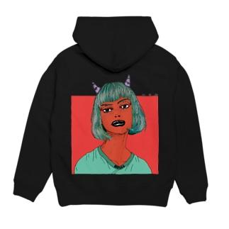Devil Girl  ロゴ&バックプリント パーカー Hoodie