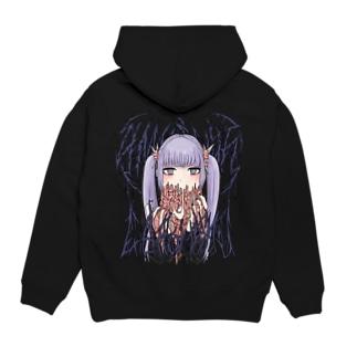 超絶嘔吐パーカー(紫髪) Hoodies