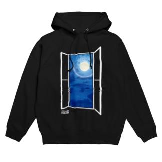 窓枠から見る月 Hoodies
