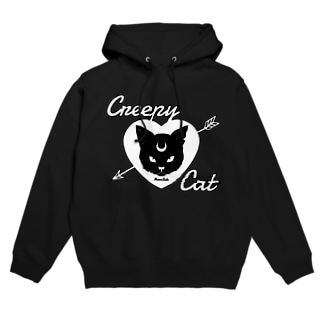 【MOON SIDE】 Creepy Cat #Black Ver.2 Hoodies