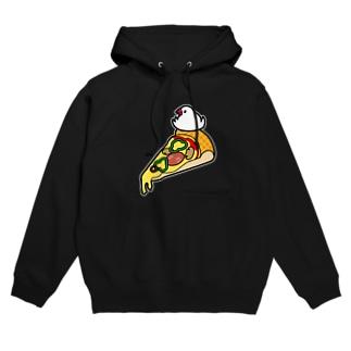 ピザで暖をとる文鳥(素材が濃い色用) フーディ