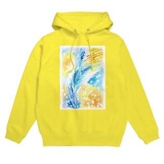 青と黄色のキラキラ Hoodie