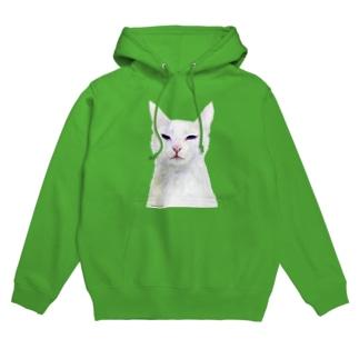 白い猫 Hoodies