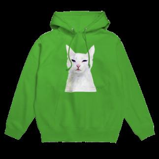 Washiemon and Ai-chan's Shopの白い猫 Hoodies