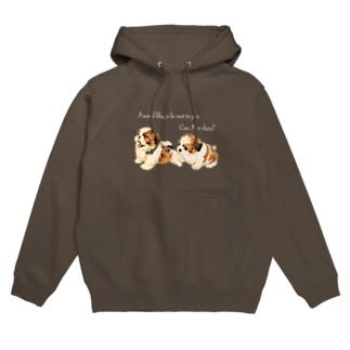 puppy Shih Tzu 🐶 文字White ver. Hoodies