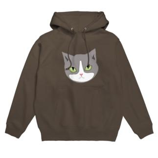 ハチワレ猫の牡丹ちゃん Hoodies