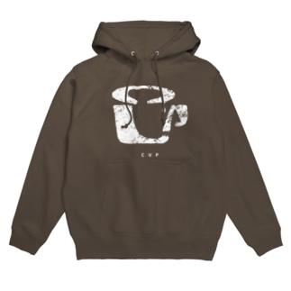 CUP(かすれ・白) Hoodies
