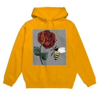 薔薇と蜂 グレー Hoodies