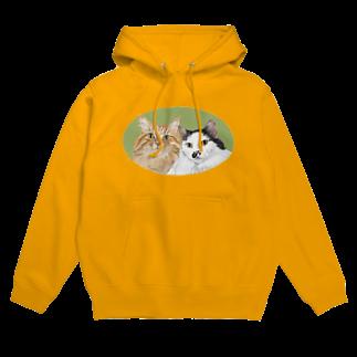 kinako-japanの猫社長さん 猫専務さん 緑 Hoodies