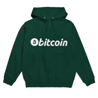 bitcoin ビットコイン 白字 横 各色 フーディ
