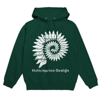 HelicoprionDesignロゴマーク(白インク) Hoodies