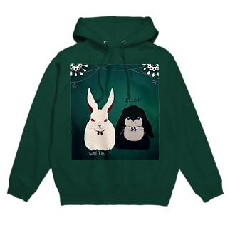 シック 白黒ウサギ Hoodies