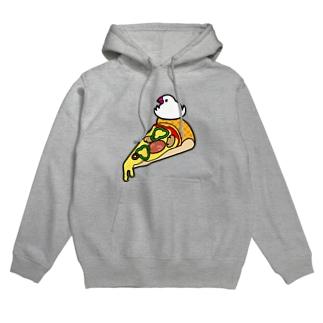 ピザで暖をとる文鳥 フーディ