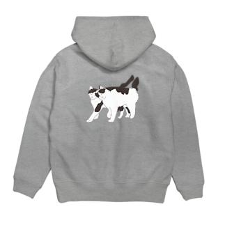 猫と猫 Hoodies
