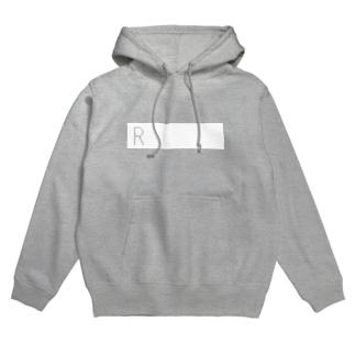Rを挿入(印刷部白) Hoodies