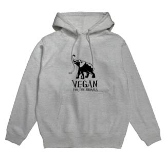 VEGAN FOR THE ANIMALS Hoodies