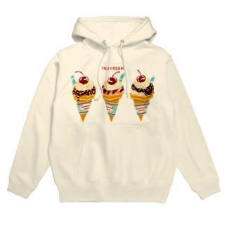 チェリー乗せアイスクリーム Hoodies