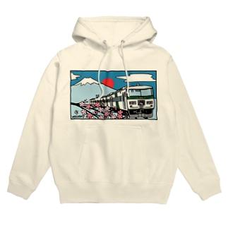YASCORN(やすこーん)鉄道の「踊り子」185系と富士山、桜 イラスト Hoodies
