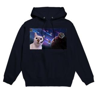 宇宙猫と宇宙ハムスター Hoodies