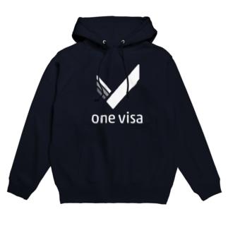 one visa White Logo Hoodies