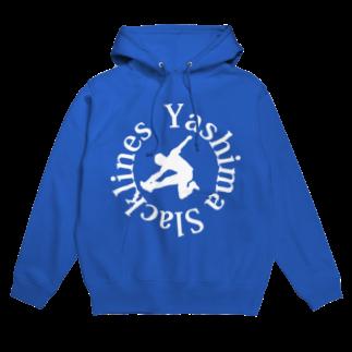 YASHIMA-SLACKLINESのYSロゴ-ホワイトフーディ