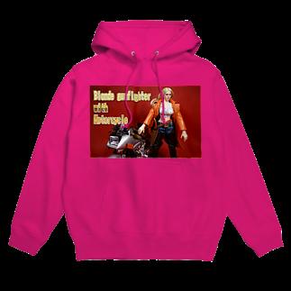 FUCHSGOLDのドール写真:金髪美女とオートバイ Doll picture: Blonde gunfighter & motorcycle Hoodies
