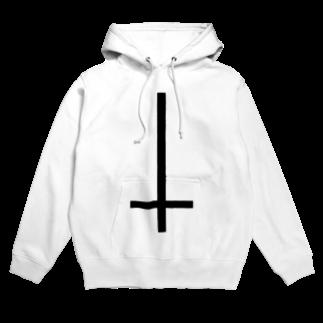 nue-designの無神論逆十字フーディ