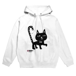 水玉しっぽの黒猫ちゃん フーディ