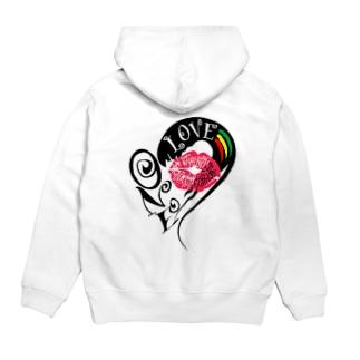 ONE LOVE KISS Hoodies