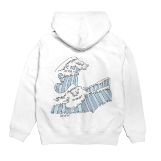the great wave Hoodies