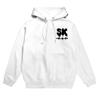 SK Strikethrough(666) Clothing - First Line White Hoodies
