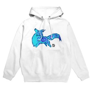 青い幻獣 Hoodies