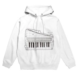 白鍵パーカー (鍵盤ハーモニカ研究所オリジナルグッズ) フーディ