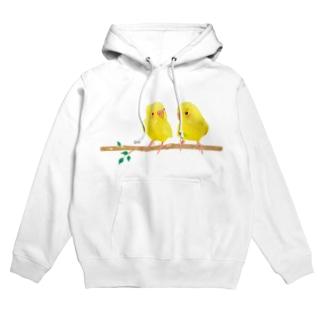 幸せの黄色いセキセイインコ Hoodies