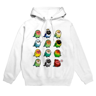 Chubby Bird ラブバード大集合 (コザクラインコ&ボタンインコ) Hoodies